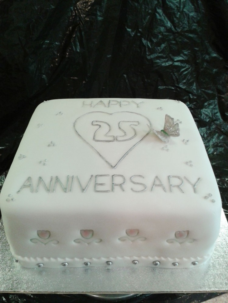 25th Wedding Anniversary Cake Idea To Copy Picture in Wedding Cake