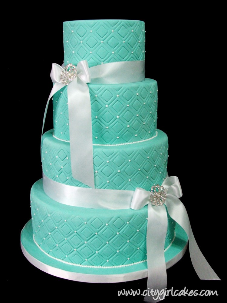 4 Tier Blue Wedding Cake Picture in Wedding Cake