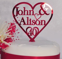 1024x1024px 40th Ruby Wedding Anniversary Cake Picture in Wedding Cake