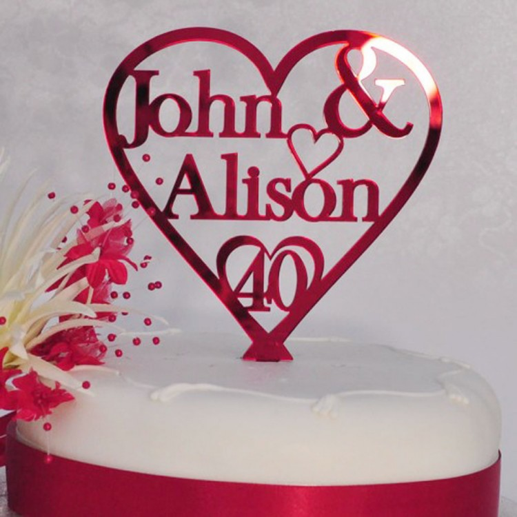 40th Ruby Wedding Anniversary Cake Picture in Wedding Cake
