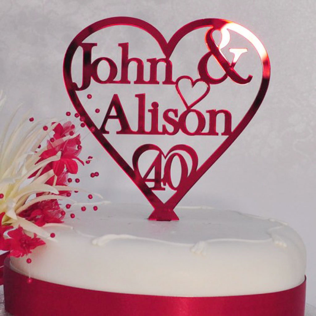 Cake Decorations For Ruby Wedding Anniversary : 40th Ruby Wedding Anniversary Cake Wedding Cake - Cake ...