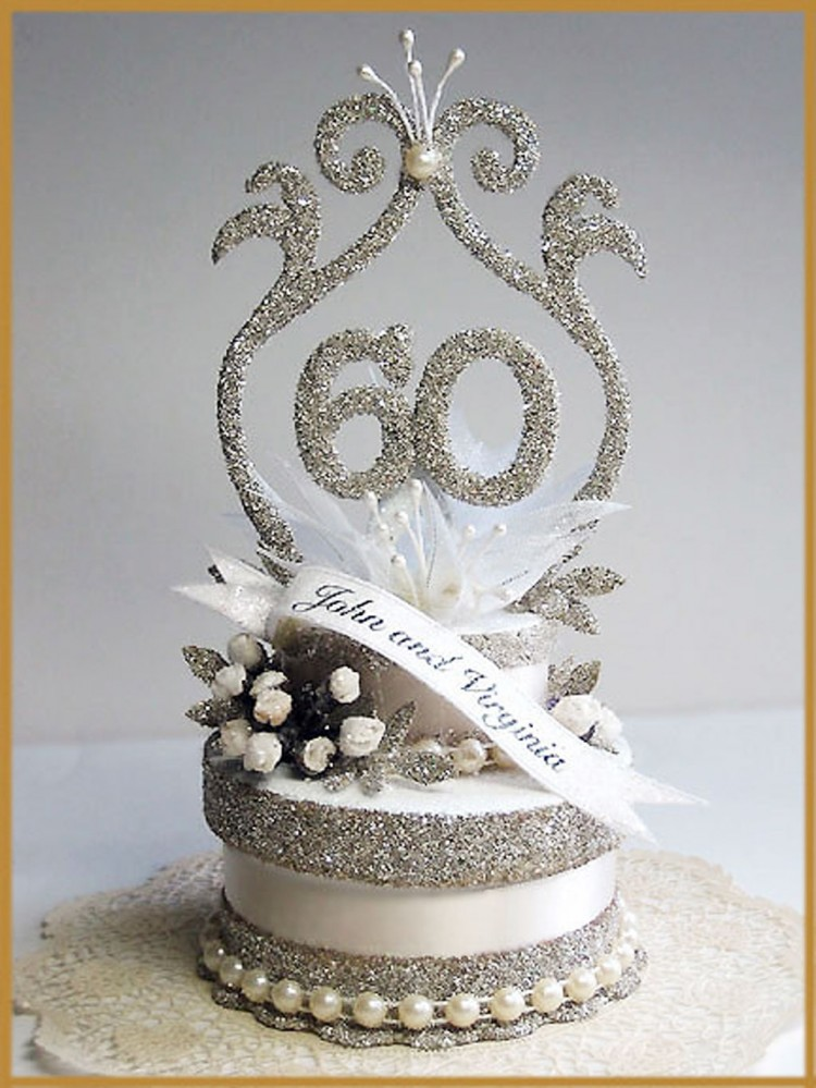 60th Wedding Anniversary Cake Topper Picture in Wedding Cake