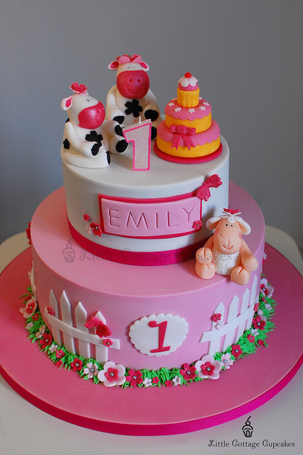 Baby Girl 1st Birthday Cake Birthday Cake - Cake Ideas by ...