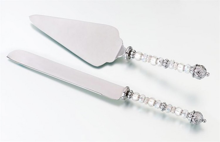 Beaded Wedding Cake Knife And Server Set Picture in Wedding Cake