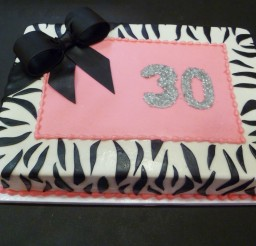 1024x768px 30th Birthday Zebra Print Cake Picture in Birthday Cake