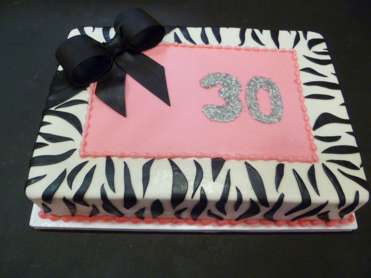 30th Birthday Zebra Print Cake Picture in Birthday Cake