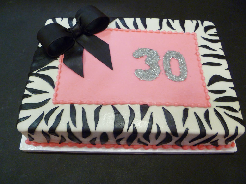 30th Birthday Zebra Print Cake Birthday Cake - Cake Ideas ...