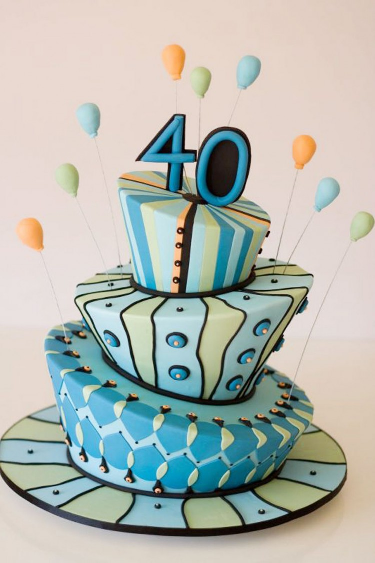 40th Birthday Cake Decorating Ideas Picture in Birthday Cake