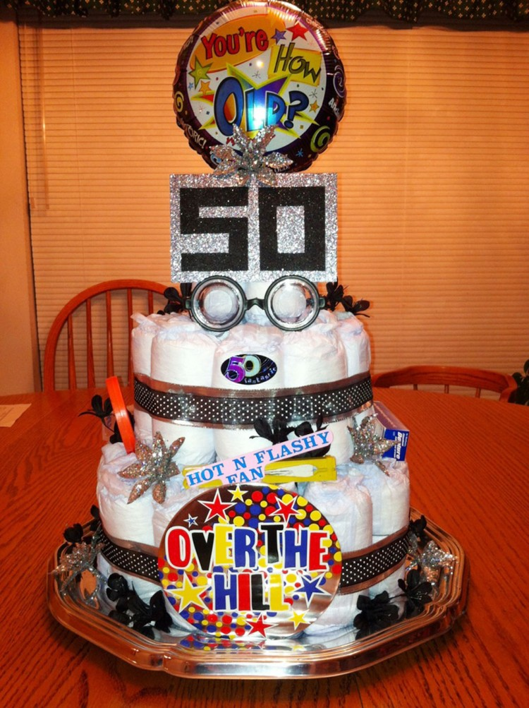 50th Birthday Depends Cake Picture in Birthday Cake