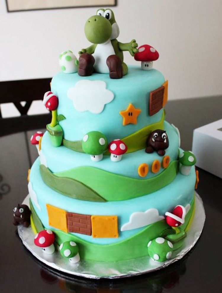 Amazing Yoshi Birthday Cake Picture in Birthday Cake