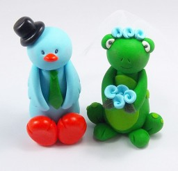 1024x982px Blue Duck And Frog Wedding Cake Picture in Wedding Cake