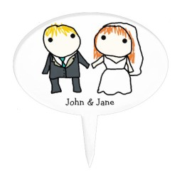 1024x1024px Bride And Groom Cartoon Wedding Cake Topper Picture in Wedding Cake