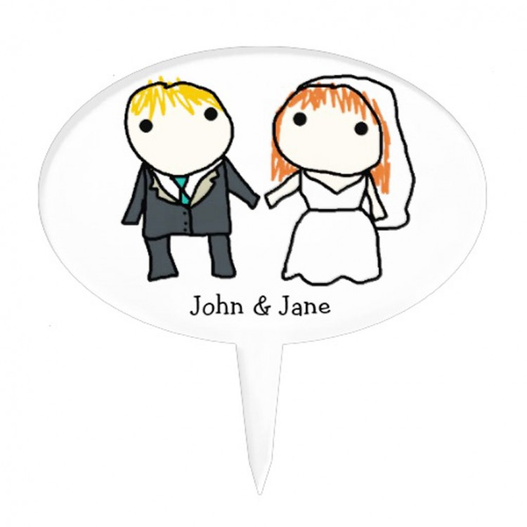 Bride And Groom Cartoon Wedding Cake Topper Picture in Wedding Cake