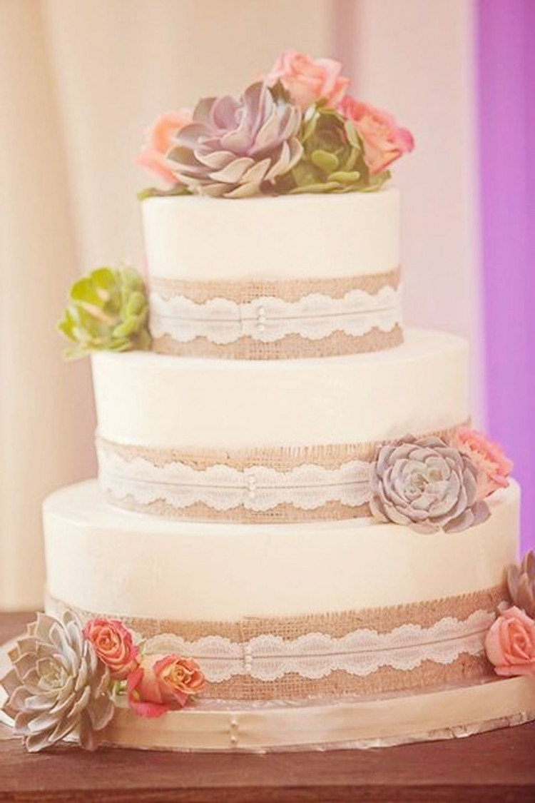 Burlap Wedding Cake Ideas Picture in Wedding Cake