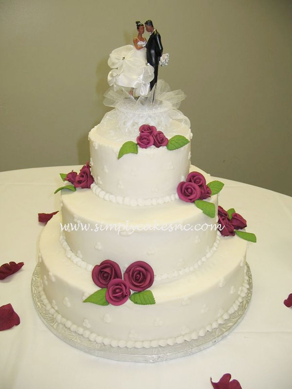 Buttercream Wedding Cake With Royal Icing Roses Wedding ...