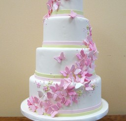 1024x1536px Butterfly Wedding Pink Butterfly Cake Picture in Wedding Cake