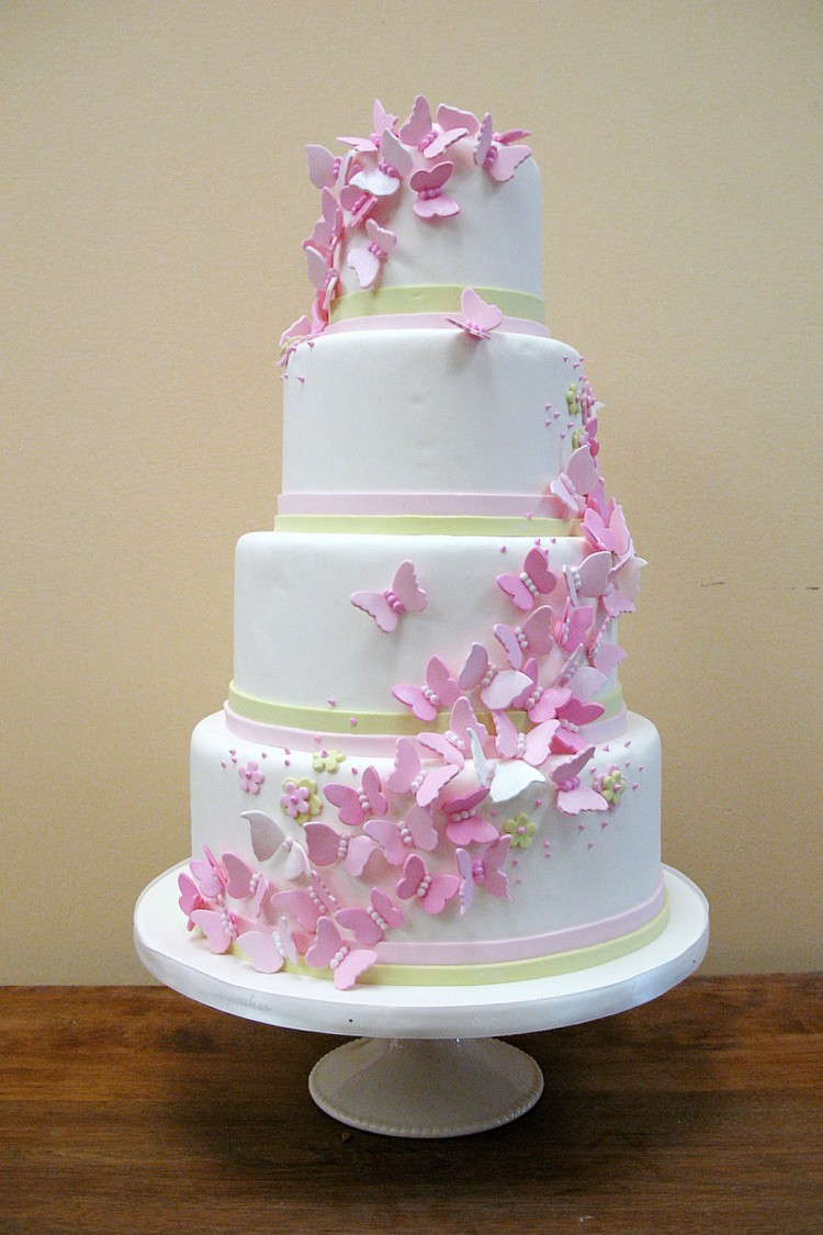 Butterfly Wedding Pink Butterfly Cake Picture in Wedding Cake