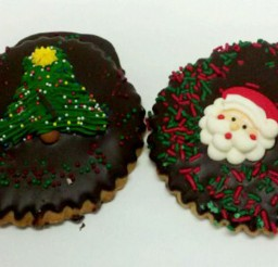 1024x582px Chocolate Cut Out Cookie With Santa Picture in Chocolate Cake