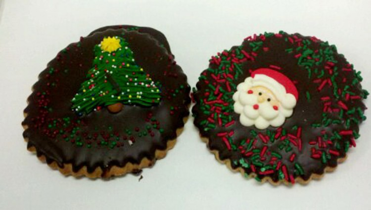 Chocolate Cut Out Cookie With Santa Picture in Chocolate Cake