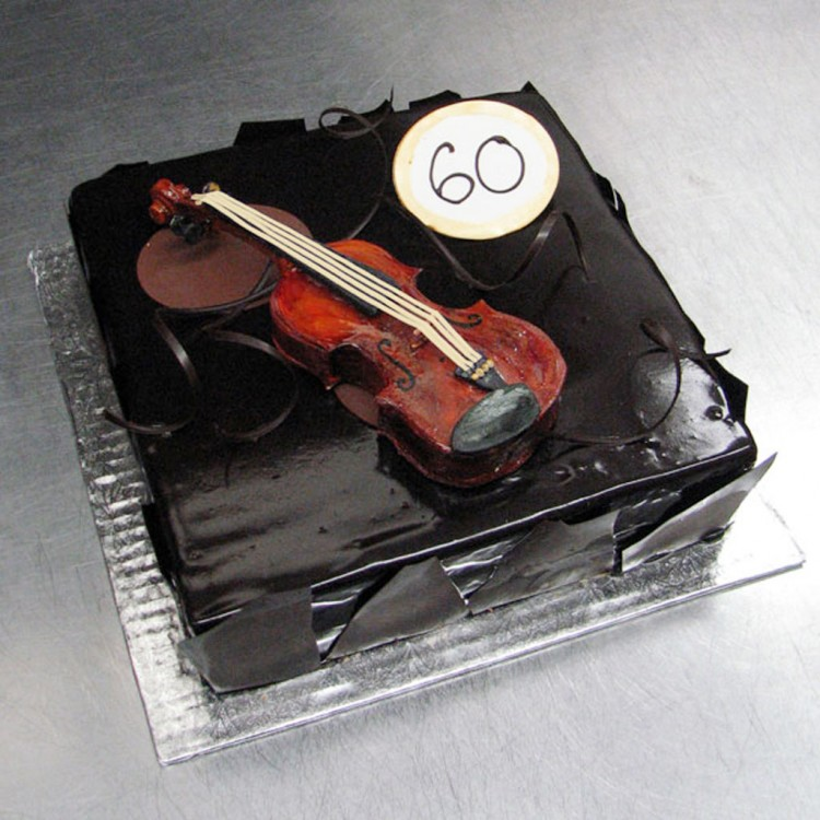 Chocolate Violin Birthday Cake Picture in Birthday Cake