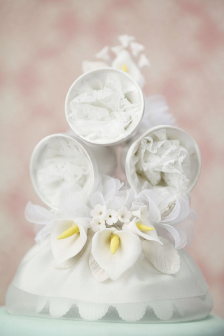 Classic Calla Lily Wedding Bell Cake Topper Picture in Wedding Cake