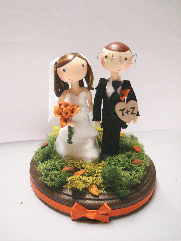 Custom Autumn Wedding Cake Topper Picture In