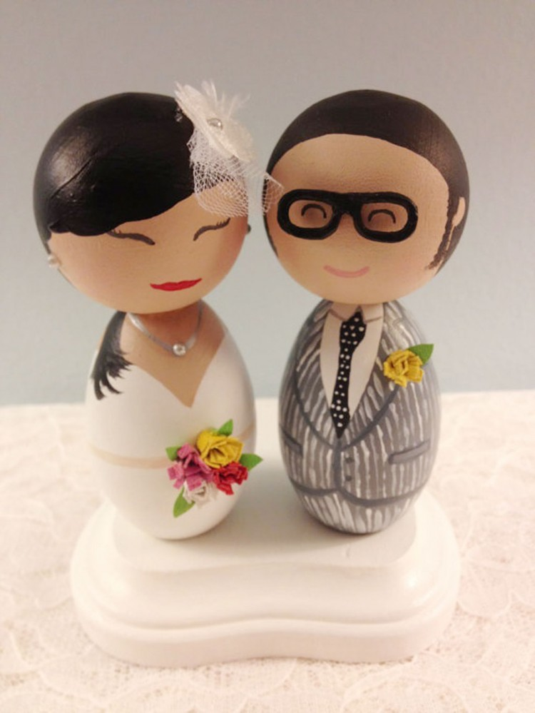 Custom Hipster Bride And Groom Wedding Cake Toppers Picture in Wedding Cake