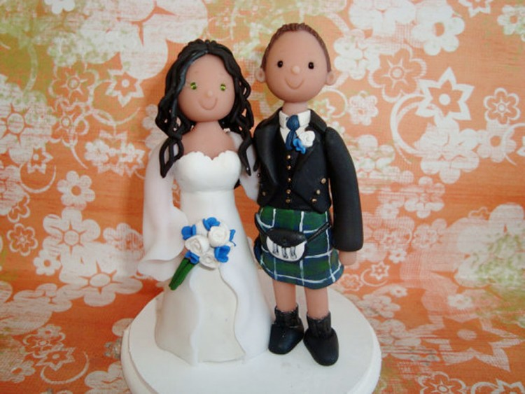 Custom Scottish Wedding Cake Topper Picture in Wedding Cake