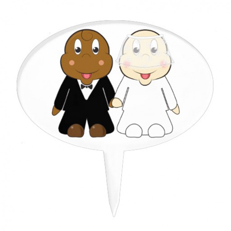 Cute Cartoon Bride And Groom Wedding Cake Topper Picture in Wedding Cake