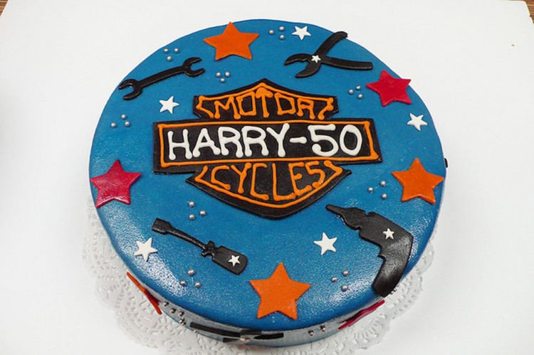 Dark Blue Harley Davidson Birthday Cake Picture in Birthday Cake