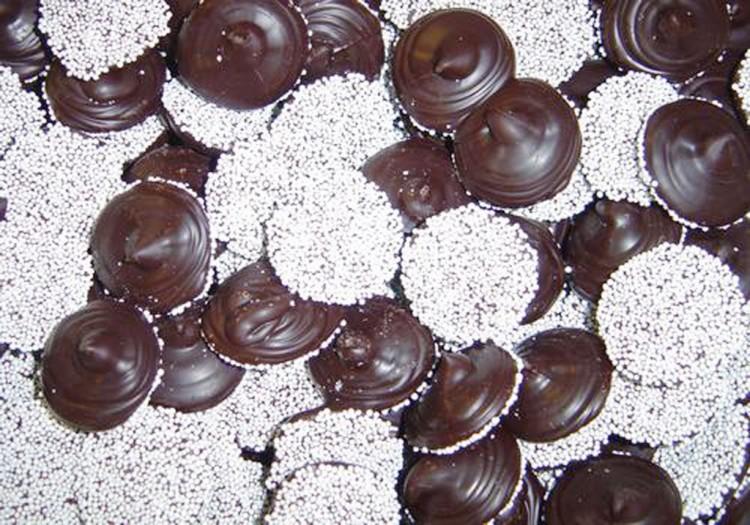 Dark Chocolate Nonpareils Picture in Chocolate Cake