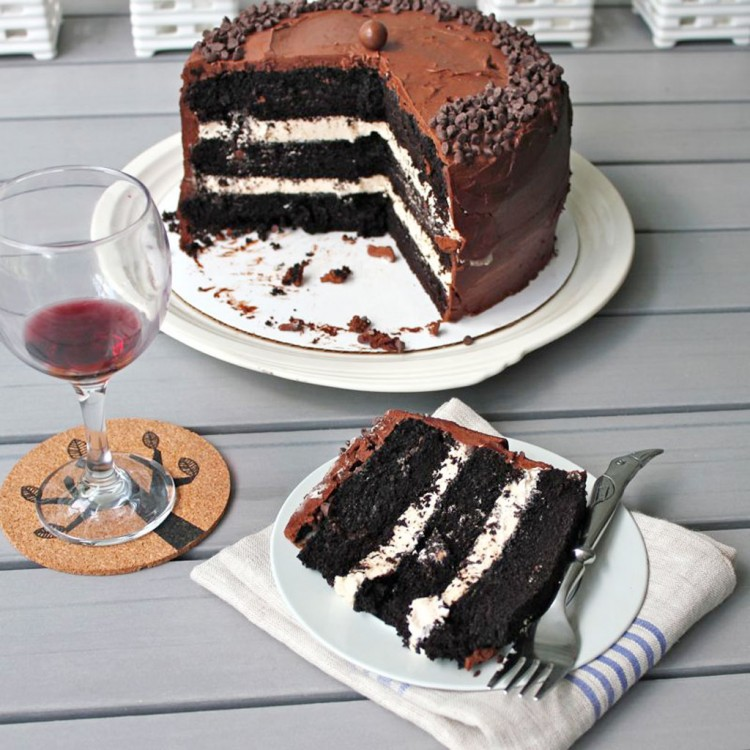 Dark Chocolate Salted Caramel Layer Cake Picture in Chocolate Cake