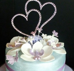 1024x1024px Double Heart Wedding Cake Topper Crystal Picture in Wedding Cake