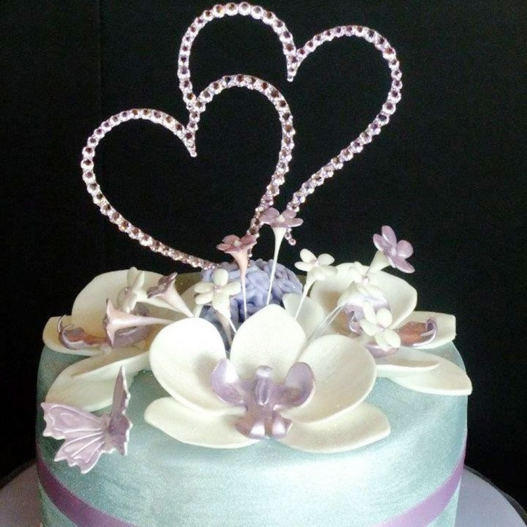 Double Heart Wedding Cake Topper Crystal Picture in Wedding Cake