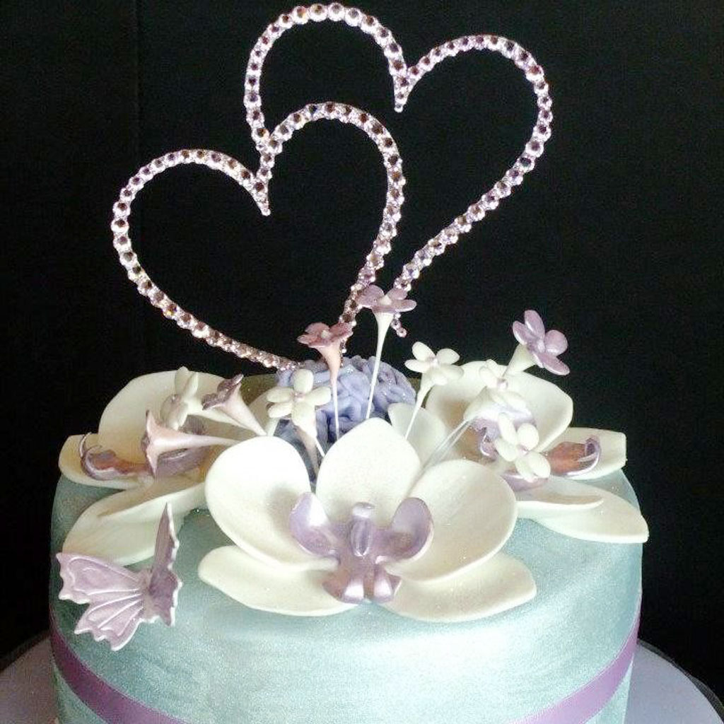 Double Heart Wedding Cake Topper Crystal Picture In