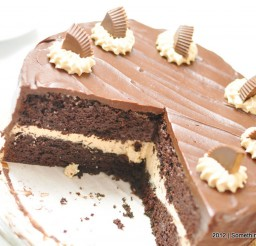 1024x732px Edible Triple Chocolate Peanut Butter Layer Cake Picture in Chocolate Cake