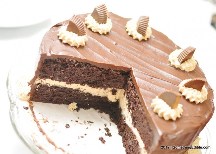 Edible Triple Chocolate Peanut Butter Layer Cake Picture in Chocolate Cake