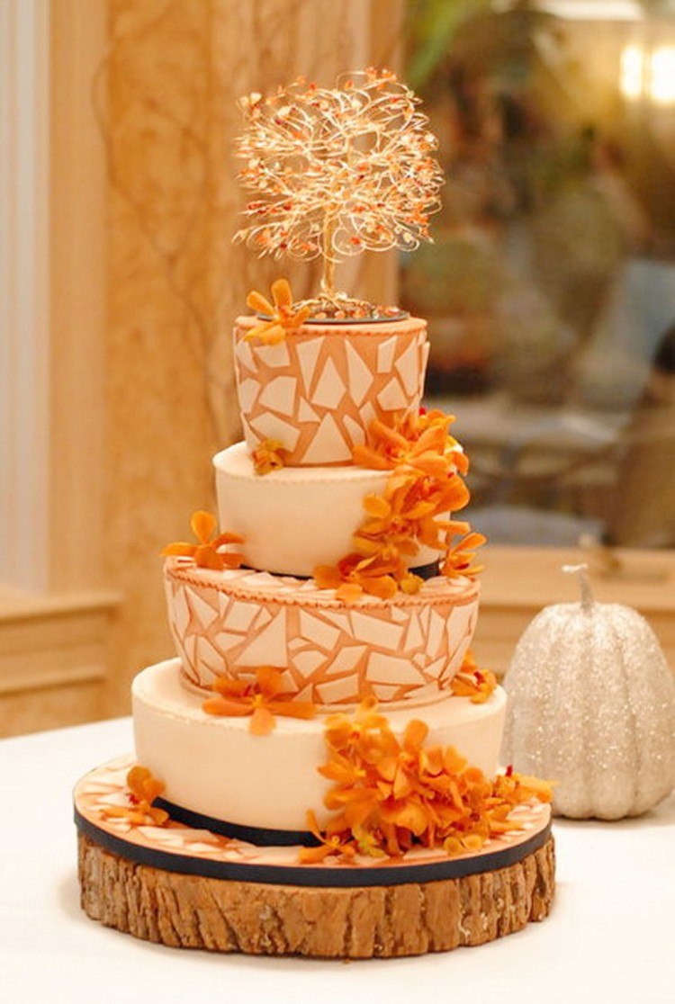 Fall Themed Mosaic Wedding Cake Picture in Wedding Cake