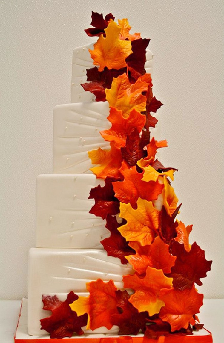 Fall Themed Wedding Cake Photo Picture in Wedding Cake