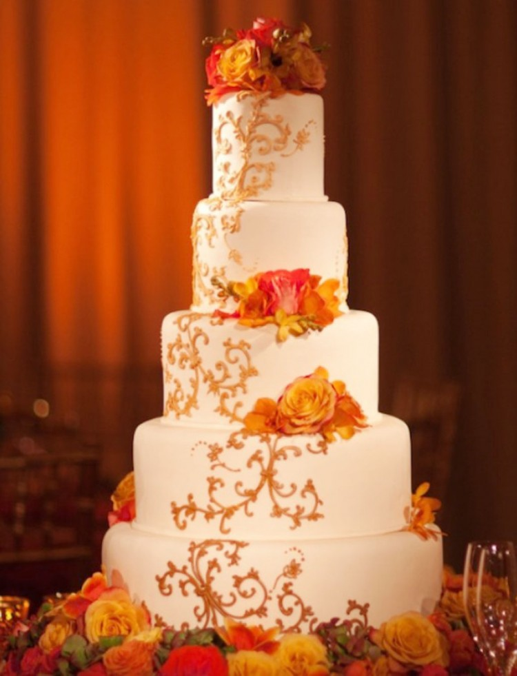 Fall Theme Orange Wedding Cake Picture in Wedding Cake