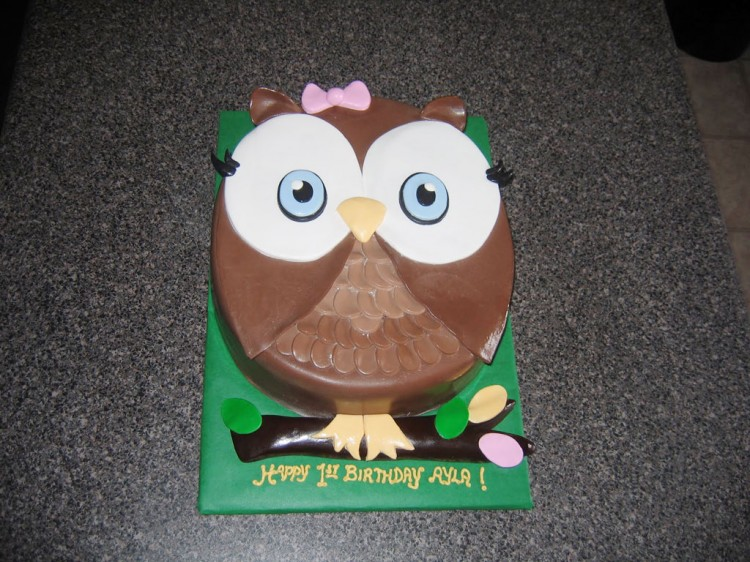 First Birthday Owl Cake Picture in Birthday Cake