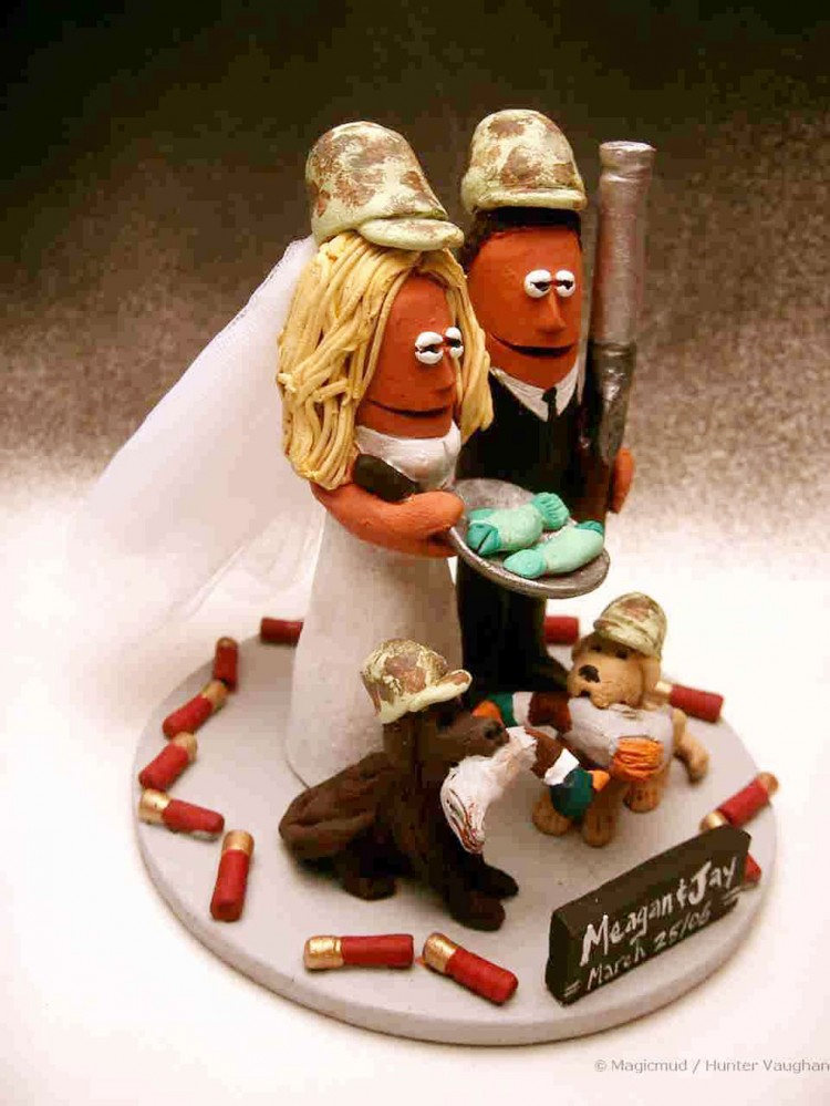 Fishing And Hunting Wedding Cake Topper Picture in Wedding Cake