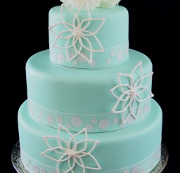 1024x1743px Fondant Wedding Cake Tiffany Blue With Snow Ball Picture in Wedding Cake