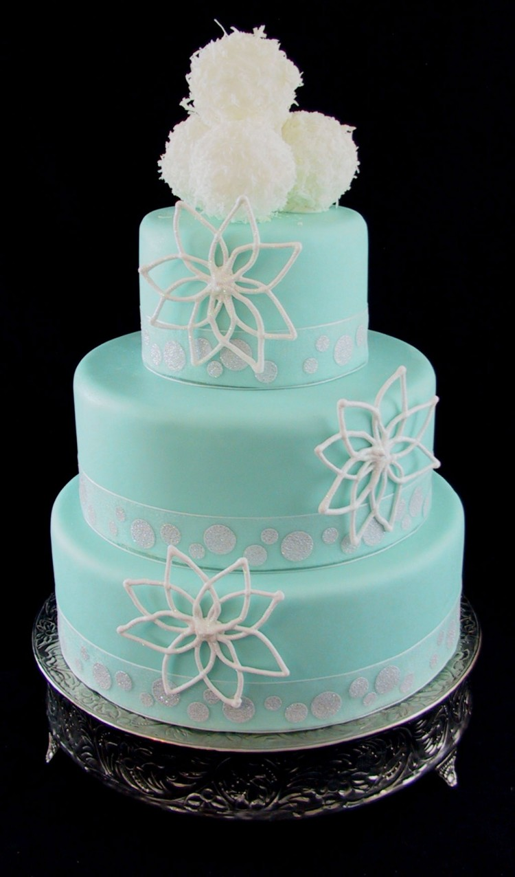 Fondant Wedding Cake Tiffany Blue With Snow Ball Picture in Wedding Cake