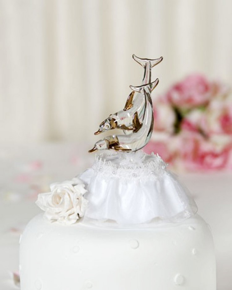 Glass Beach Dolphin Wedding Cake Toppers Picture in Wedding Cake