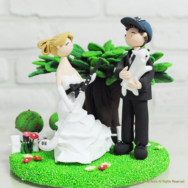 Golf Custom Wedding Cake Topper Picture in Wedding Cake