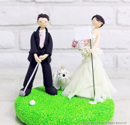 1024x1024px Golf Mania Couple Wedding Cake Topper Picture in Wedding Cake