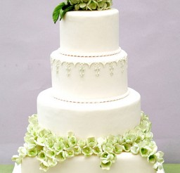 1024x1757px Green Modern Hydrangea Wedding Cake Picture in Wedding Cake