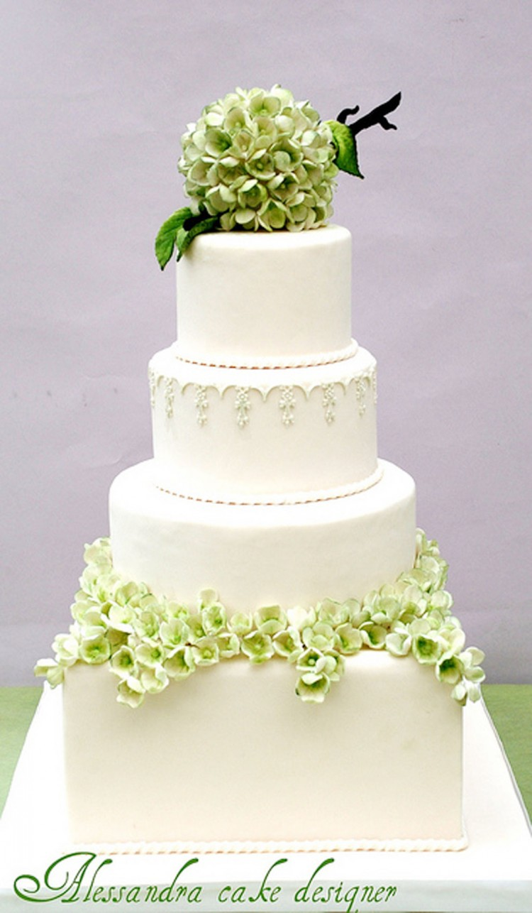 Green Modern Hydrangea Wedding Cake Picture in Wedding Cake