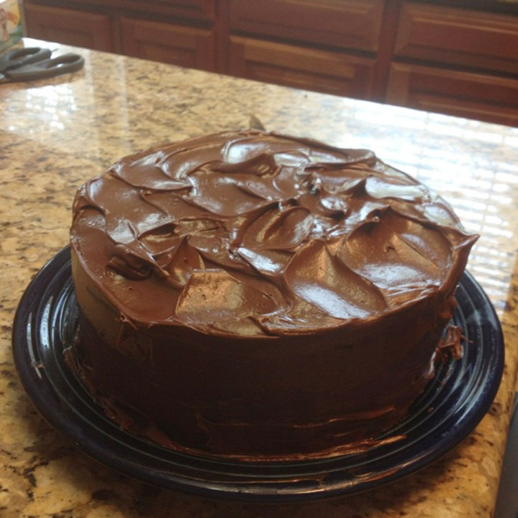 Homemade Dark Chocolate Cake With A Ganache Icing Picture in Chocolate Cake